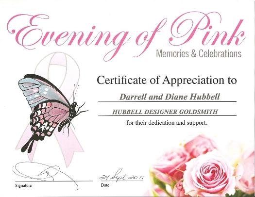evening of pink appreciation award hubbell designer goldsmiths